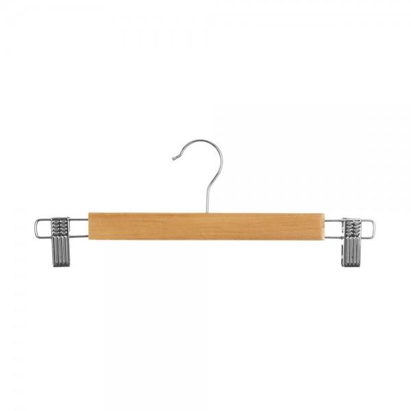 Set 3ud perchas metalica detalle madera para pantalon